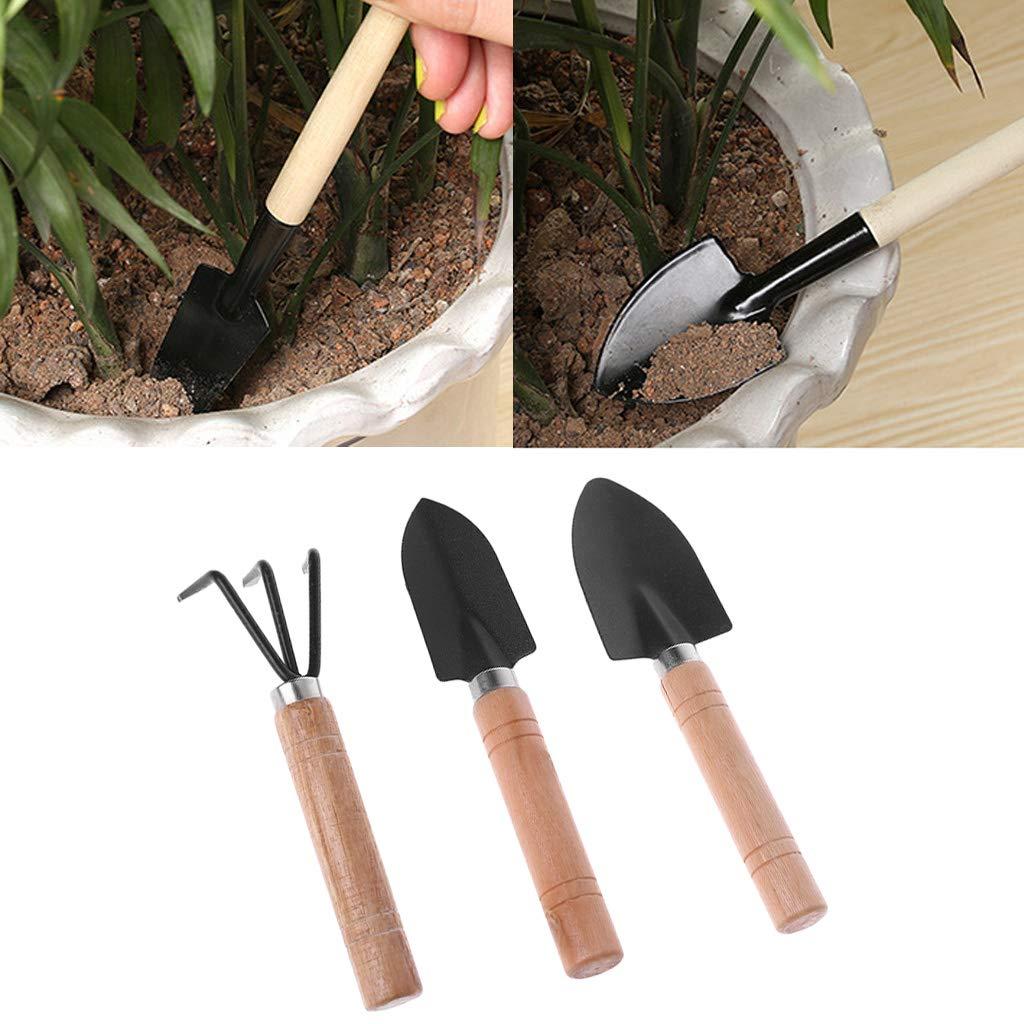 William-Lee Mini-Gartenschaufel//Rechen//Spaten//Erramientas//Bonsai-Werkzeuge Topfpflanzen Holzgriff f/ür Blumen 3 St/ück