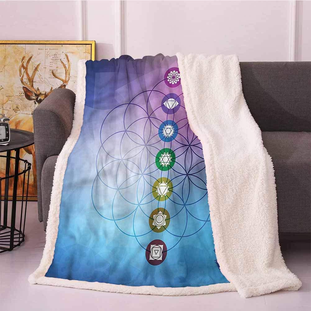 Miles Ralph Soft Blanket Sherpa Comforter Sacred Geometry,Spiritual Chakra for mom 60''x70'' by Miles Ralph