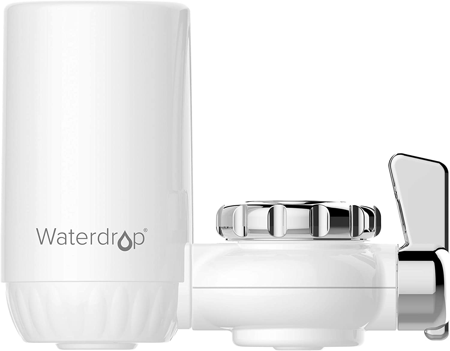 Waterdrop NSF Certified Long-Lasting Faucet Filtration System, Tap Water Filter with Ultra Adsorptive Material, removes 93% Chlorine, Lead, Flouride and More - Fits Standard Faucets, 1 Filter Included