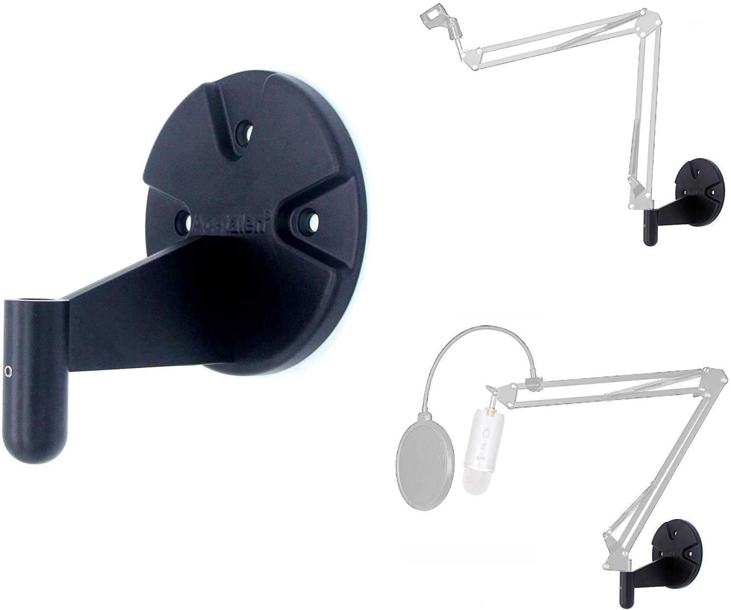 Wall Mount for Suspension Boom Arm, Round Plate and Attaching Holder Piece Compatible with Microphone Stand,Mobile phone Stand,Webcam Stand