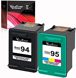 Valuetoner Remanufactured Ink Cartridges Replacement for HP 94 & 95 C9354BN C8765WN C8766WN for Officejet 150 100 H470 9800 7310 7210, Deskjet 460, PSC 1610 2355, 2 Pack (1 Black, 1 Tri-Color)