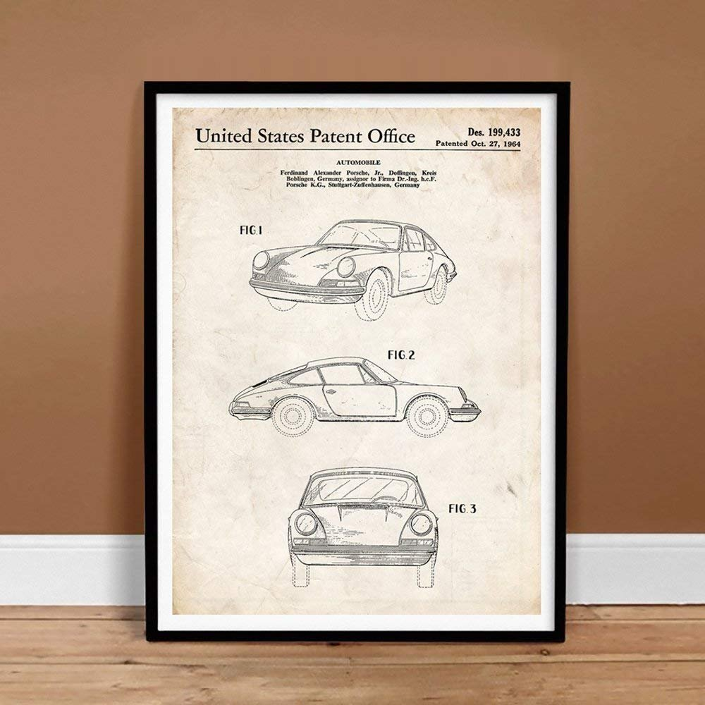 Amazon.com: Porsche 911 Poster 1964 Patent Art Invention Handmade Giclée Gallery Print Parchment (18x24 inches): Posters & Prints