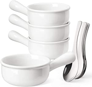 LE TAUCI French Onion Soup Bowls With Handles and Stainless Steel Soup Spoons, 15 Ounce for Soup, chili, beef stew, Set of 4, White