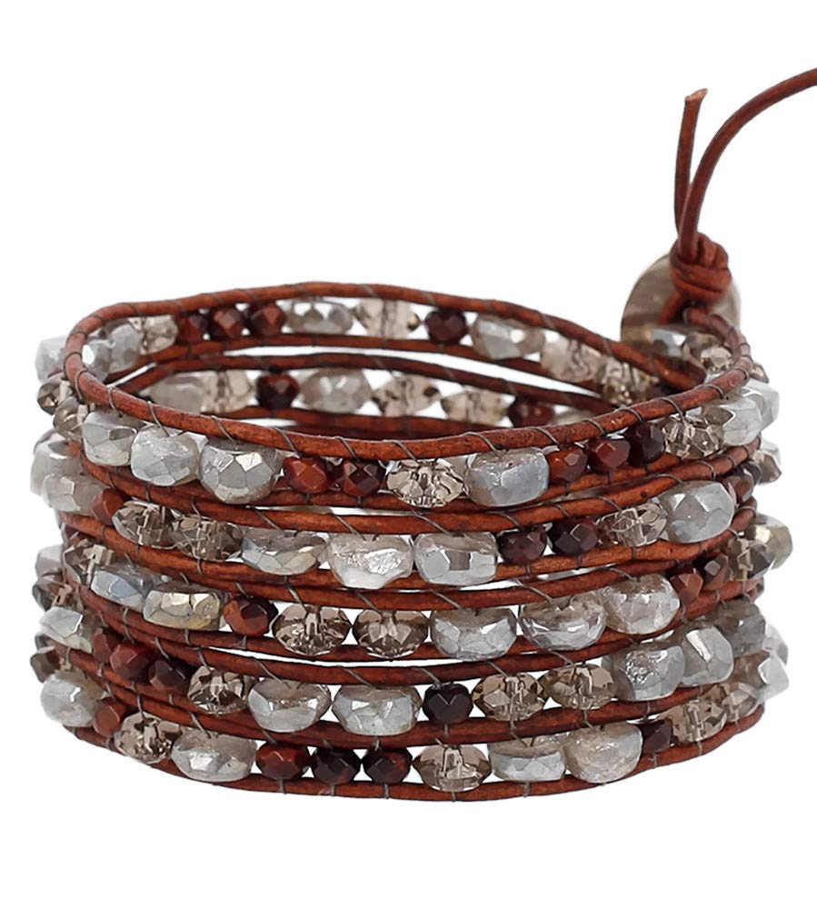 Chan Luu Grey and Red Mix Mineral Stone Beaded Dark Brown Leather Silvertone Wrap Bracelet