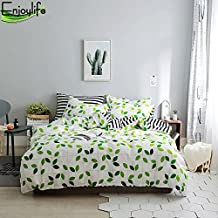 Enjoylife 100% Pure Cotton Reversible 3PCS Bedding Set for Spring/Summer Printing Duvet Cover Super Soft Children/Adults Leaves-C Quilt Cover Twin Size