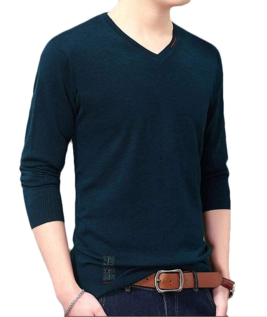 GRMO Men Plus Size Knit Sweater Solid Long Sleeve V-Neck Pullover