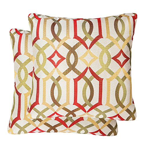 Pack of 2 SimpleDecor Jacquard Geometric Links Accent Decorative Throw Pillow Covers Cushion Case Multicolor 20X20 Inches Red