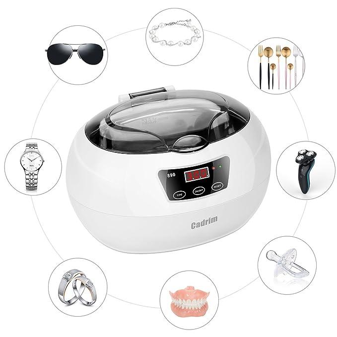 Ultraschallreiniger, Ultraschallreinigungsgerät 600ML, Cadrim Ultraschallbad Ultraschall Reiniger Reinigungsgerät für zuhause