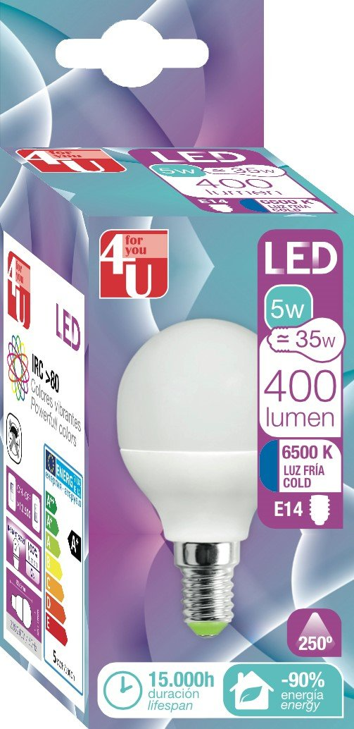 4U 400464 Bombilla LED, potente E14, 5 W, Blanco 120 x 40: Amazon.es: Iluminación