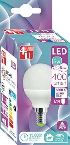 4U 400464 Bombilla LED, potente E14, 5 W, Blanco 120 x 40