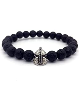 Peony red Lava Stone Pave CZ Imperial Crown and Helmet Charm Bracelet for Men Or Women Bracelet Jewelry Pulseira Hombres,2