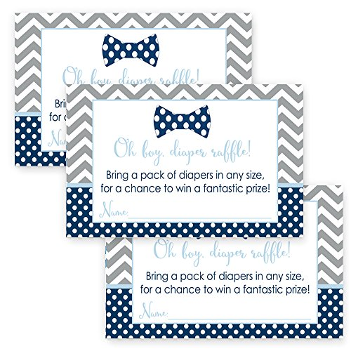 Bow Tie Baby Shower Diaper Raffle Cards for Boys Pack of 25 Invitation Inserts (Mod Invite)