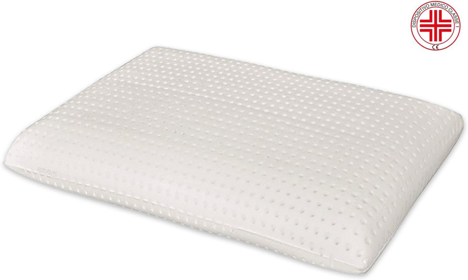 Marcapiuma - Almohada Viscoelástica Memory Foam 70 cm Alta 12 cm Modelo Jabón Perforado con Funda 100% ALGODÓN - Almohada Cervical Ortopédica - Producto Sanitario CE - 100% Fabricada en Italia