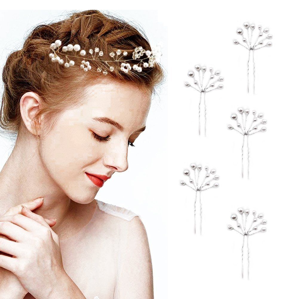 6 pcs Wedding Hair Accessories, Bridal Pearl Headband, Crystal Rhinestone Hair Wreath with Wedding Hair Pins for Bride and Bridesmaids