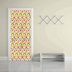 "Customized Eco-Friendly Door Sticker Autumn,Colorful Leafage WoodlandDecor PVC DIY Adhesive Wallpaper Waterproof Mural Decals 23""W x 70""H"