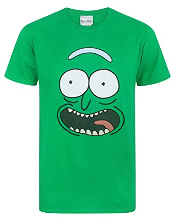 e2e456b7c07 Rick and Morty Pickle Rick Face Men s T-Shirt Green  Amazon.co.uk ...