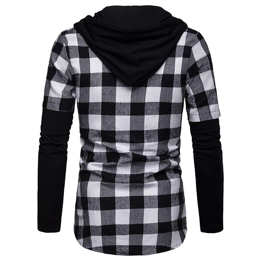 Blusa de Hombre Camisetas de Cuadros Ocasionales de los Jersey Blusa con Capucha Superior Cosiendo Manga Larga con Capucha para Hombre