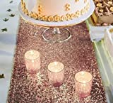 Haperlare 12 x 108 inch Sparkly Sequin Rose Gold Table Runner Glitter Rose Gold Sequin Tablecloth Rectangle Sequin Table Runner for Home Birthday Christmas Party Banquet Wedding Table Decoration