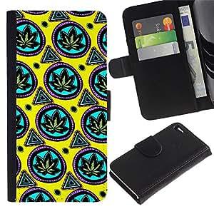 BearCase / Cuero de la tarjeta la carpeta del tirón Smartphone Slots Protección Holder /// Apple iPhone 4 / 4S /// Wallpaper Cannabis Weed Green Leaf Plant