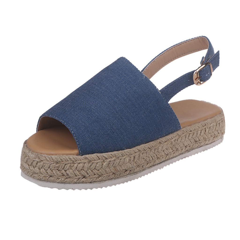 ❤SSYongxia❤ Girl Women's Comfort Casual Espadrille Trim Rubber Sole Flatform Wedge Buckle Ankle Strap Open Toe Sandals Blue