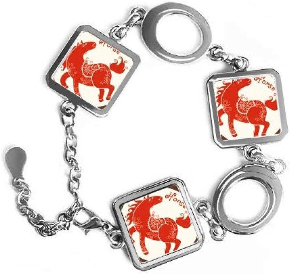 DIYthinker Pulsera de Metal con Forma Cuadrada de zodíaco Rojo y Cadena de joyería para decoración de Regalo, diseño de Animales de Caballo