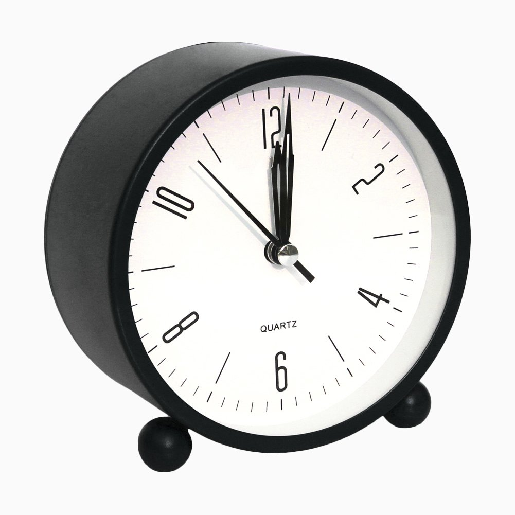 Bidason Alarm clock, Cube Office Desk Clock, No Ticking Noise Modern Cool Alarm Clocks for Bedrooms with Night Light, Battery Operated Travel Clock, Easy to set, Ideal Gift for Kids (Black)
