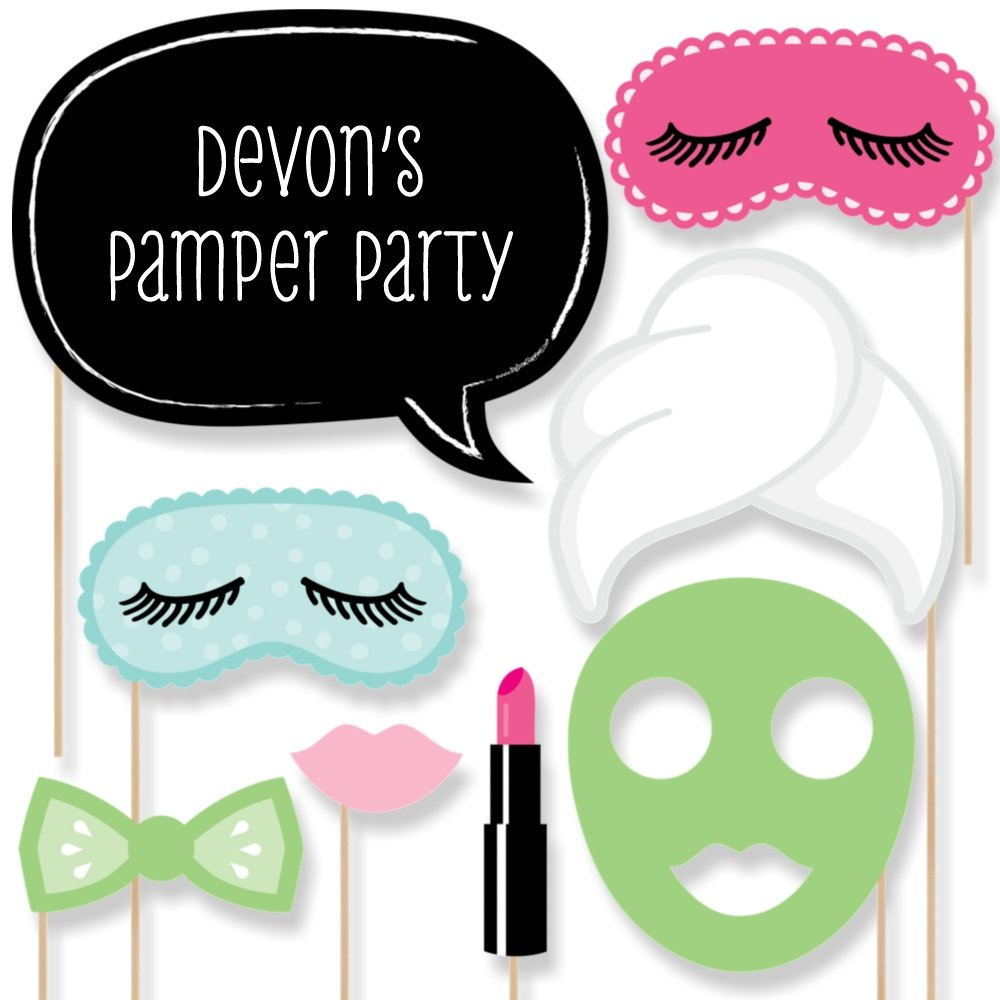 Custom Spa Day Photo Booth Props Kit - Personalized Spa Party Decorations - Makeover Party Supplies - 20 Selfie Props