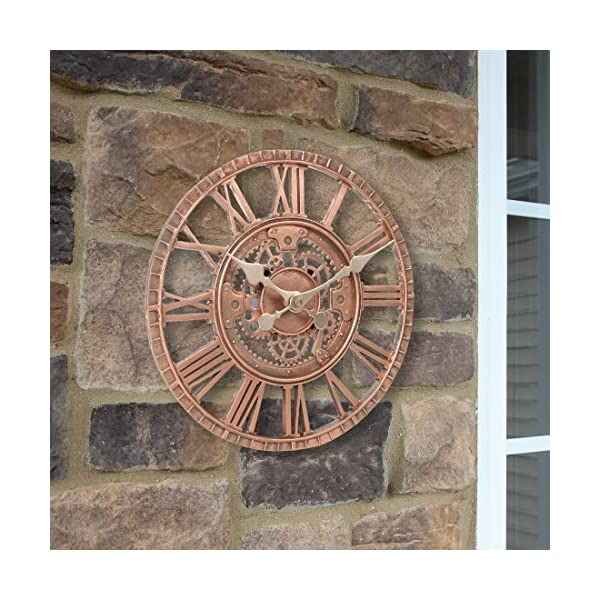 Lily's Home Hanging Wall Clock, Steampunk Gear and Cog Design with a Bronze Finish, Ideal for Indoor or Outdoor Use, Poly-Resin (12 Inches Diameter) 4