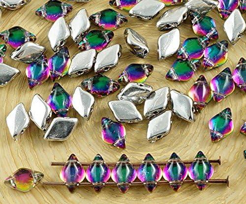 60pcs Crystal Dichroic Vitrail Green Purple Half Matubo GemDuo Rhombus Diamond Two 2 Hole Czech Glass Beads Gem Duo 8mm x 5mm