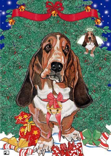 Basset Hound Christmas Cards Angels : 10 Holiday Cards with Red Envelopes - ADORABLE!
