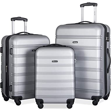 Merax 3 Pcs Luggage Set Expandable Hardside Lightweight Spinner Suitcase (Silver)