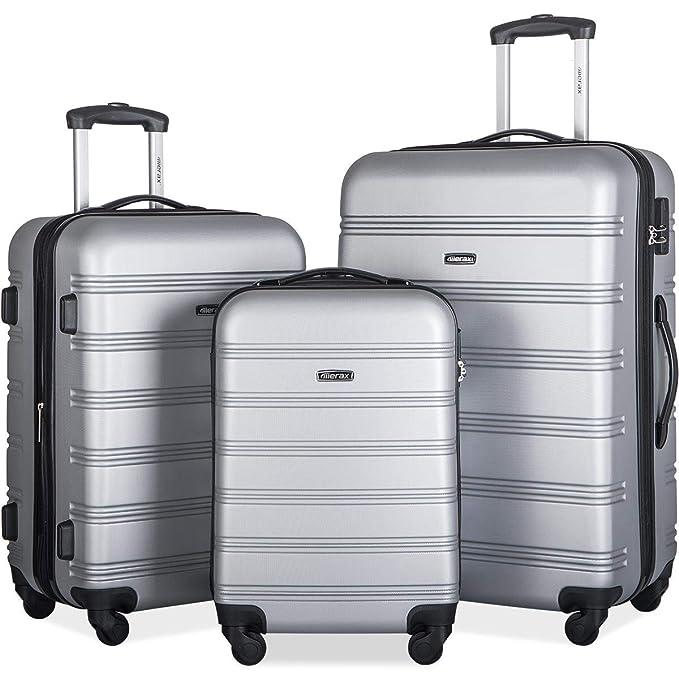 Merax 3 Pcs Luggage Set Expandable Hardside Lightweight Spinner Suitcase (Silver) best luggage set