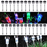24 Pack Outdoor Stainless Steel LED Solar Power Light w/ White & Color Changing. NEW!