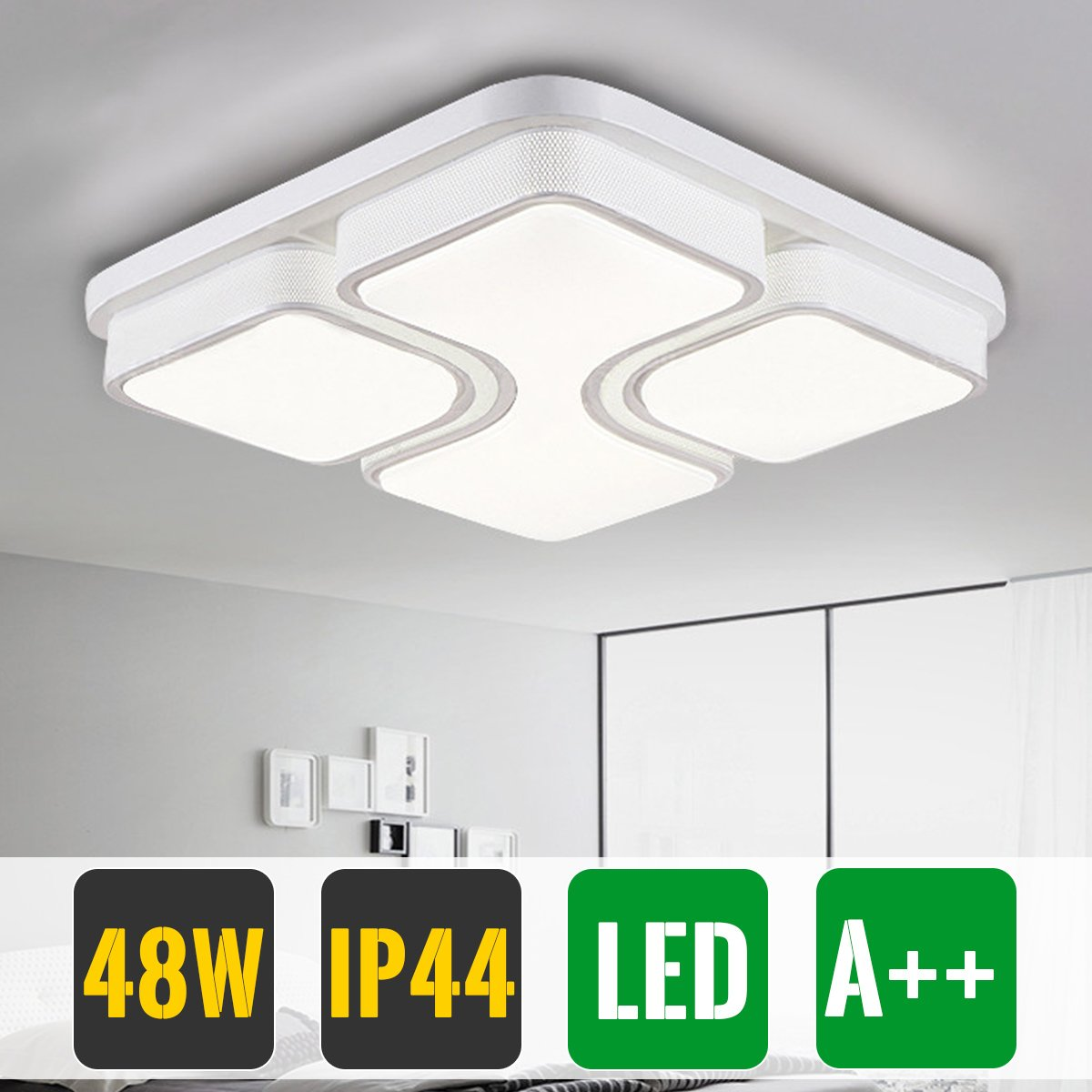 HG 64W LED Ceiling Light Ceiling Lamp Modern IP44 Square Ceiling Light Fixture For Bedroom Dining Room Kitchen Office Corridor Bebe [Energy Class A ++] huigou