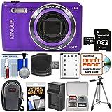 Minolta MN12Z OIS 12x Zoom Wi-Fi Digital Camera (Purple) 32GB Card + Case + Battery & Charger + Tripod + Kit