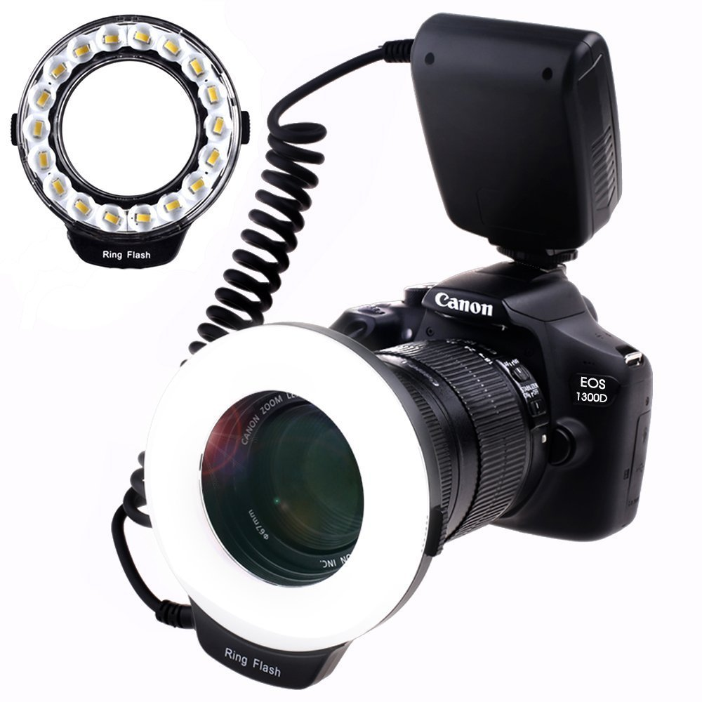 SAMTIAN Macro Ring Flash Photography with 18pcs SMD LED Light【 3 Times Brightness Than 48pcs LED Ring Flash】 for Canon Nikon and Other DSLR Cameras, Fit 49, 52, 55, 58, 62, 67, 72, 77mm Lenses by SAMTIAN