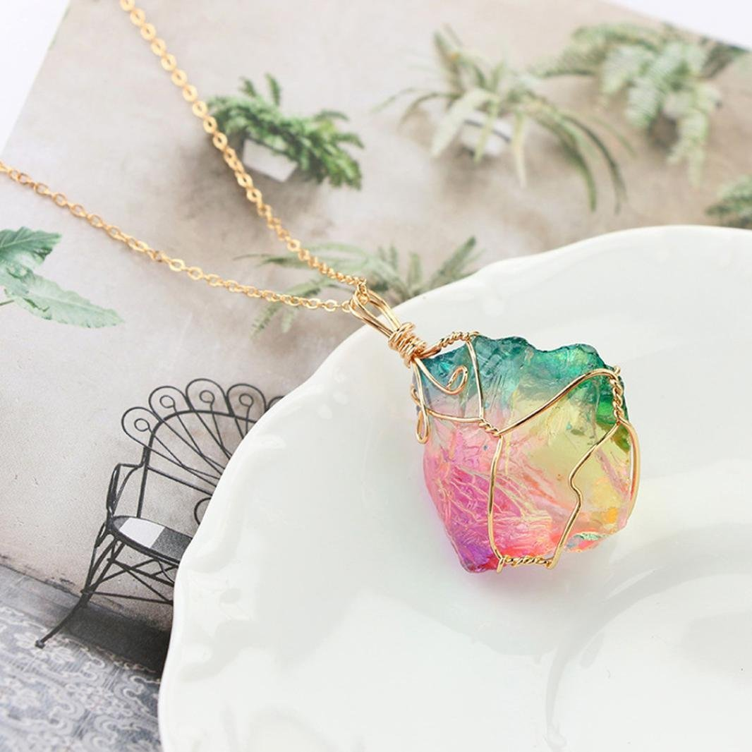 MiniPoco Random Color Rainbow Stone Natural Crystal Rock Necklace Gold Plated Pendant Chain Statement