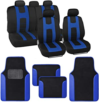 CAR SEAT COVERS fit Honda Jazz blue//black sport style full set