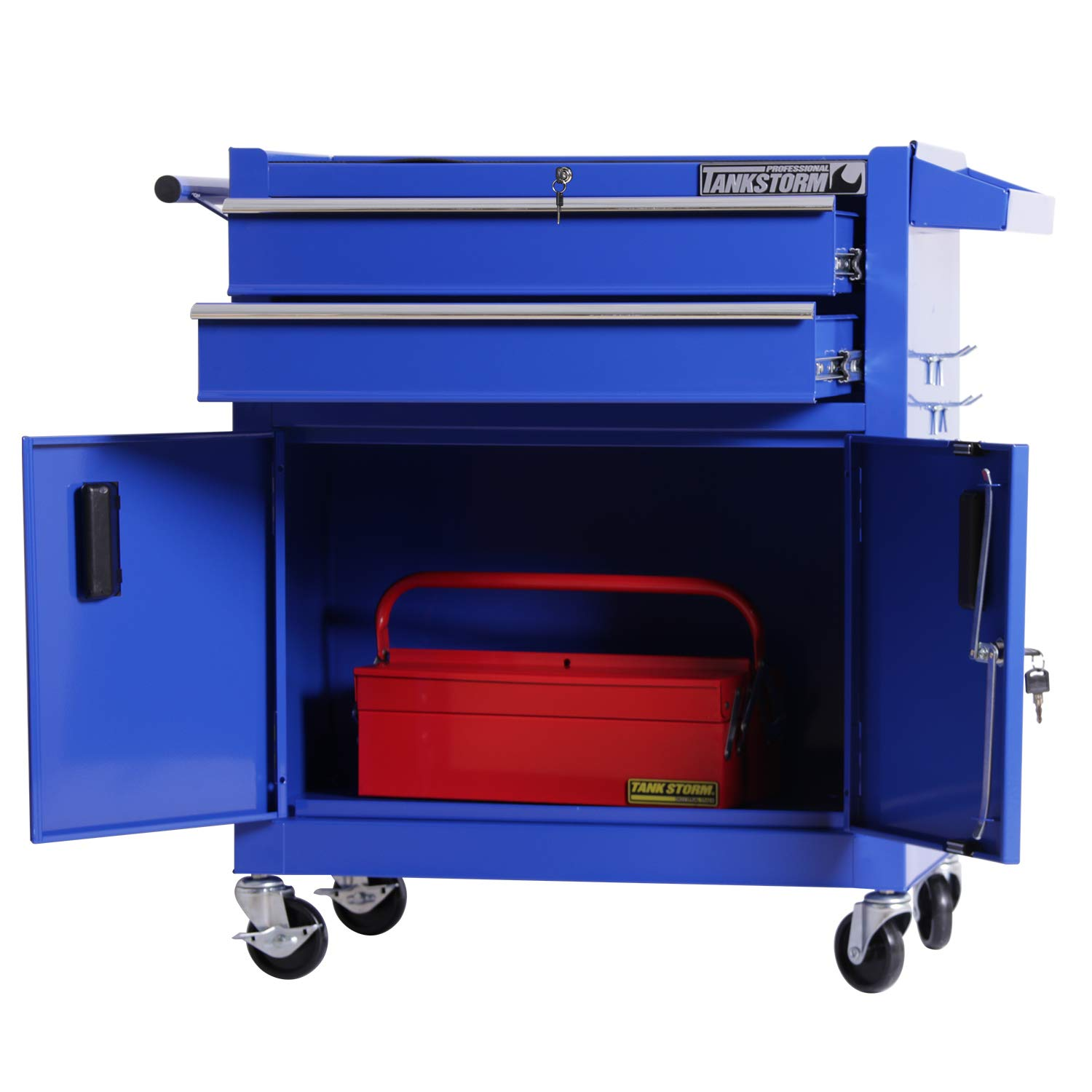 TANKSTORM Tool Chest Heavy Duty Cart Steel Rolling Tool Box with Lockable Drawers and Doors (TZ12A Blue) by TANKSTORM (Image #3)