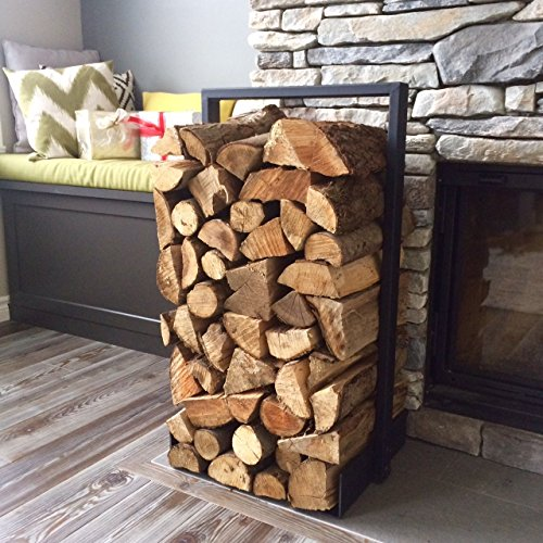 Rack Firewood Designs (Firewood log rack for home fire place decoration (indoor/outdoor) modern and rustic style (Black))
