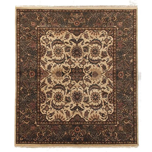 Agra Gold Area Rugs - Exquisite Rugs Agra Gold / Green New Zealand Wool Rug (10' x 14')