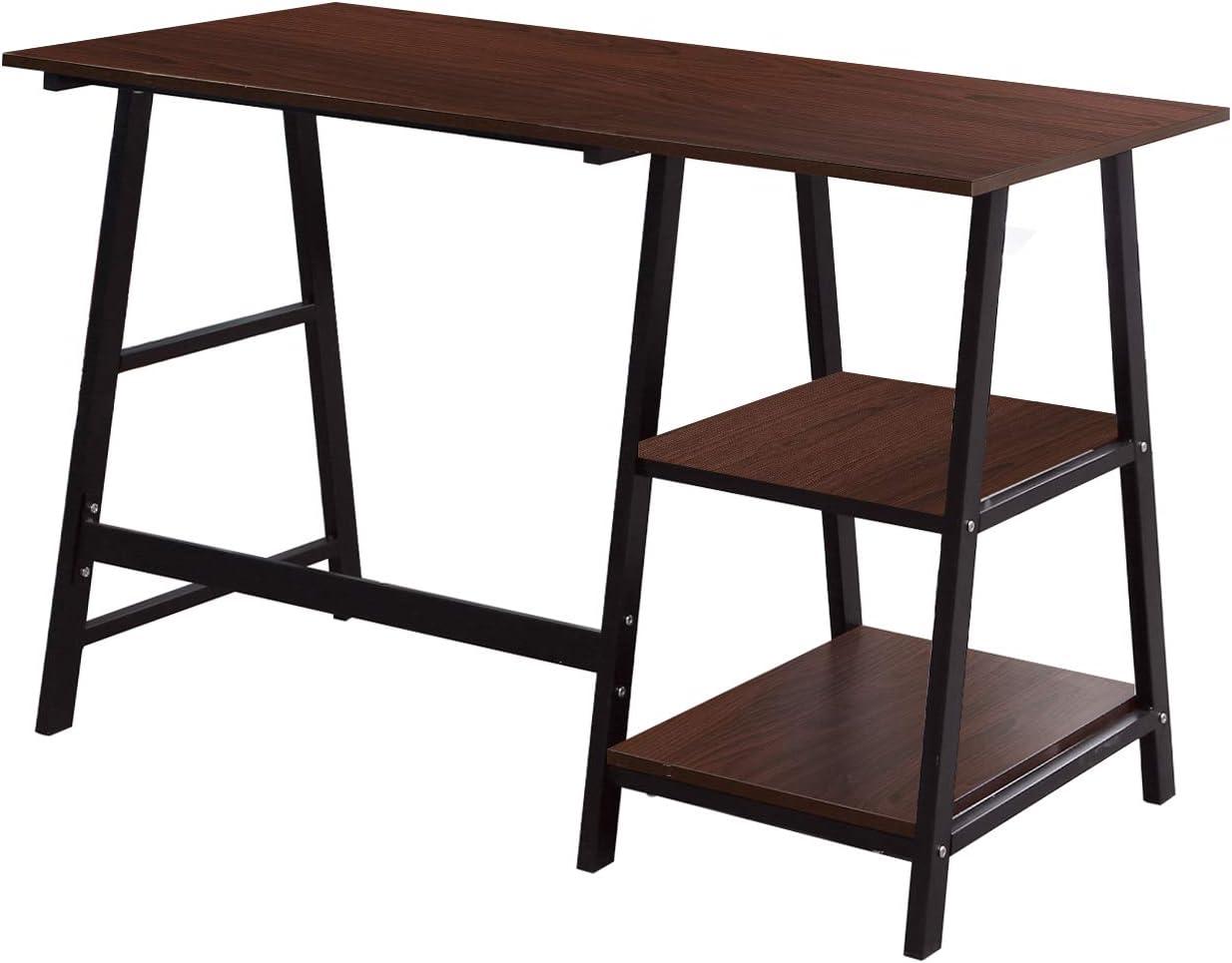 Soges Computer Desk Trestle Desk Writing Home Office Desk Hutch Workstation with Shelf, Walnut & Black 47 Inches CS-Tplus-120WB