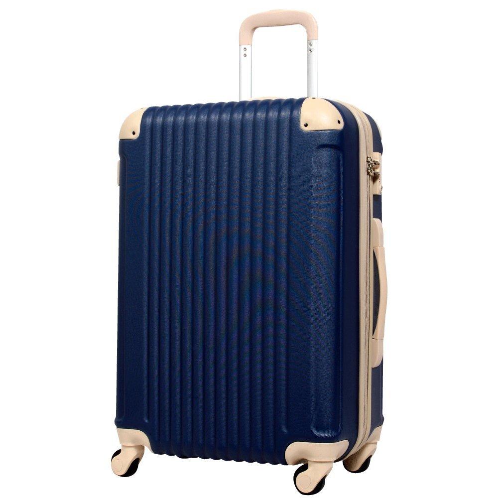 [グリフィンランド]_Griffinland TSAロック搭載 スーツケース キャリーバッグ かわいい エンボス加工 超軽量 newFK1212-1 ファスナー開閉式 S型国内国際線機内持込可 15色3サイズ B0754479NK M型|ネイビー/ベージュ ネイビー/ベージュ M型