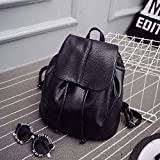 Meiyiu Women Fashion Soft Leather Double-Shoulder Backpack Portable High-Capacity Retro Style Bag
