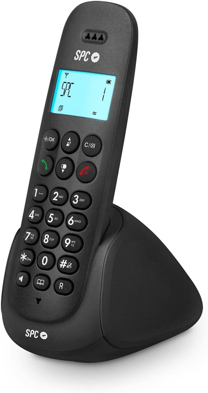 SPC Art - Teléfono inalámbrico con agenda, manos libres e identificador de llamadas – Color Negro