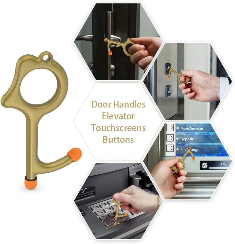 Contactless Door Opener Tool No Touch Hand Tool with Key Ring EDC Ergonomic Hook No Touch Key Safety Tool for Working on Touchscreens /& Signature Pads 2 Carriying Shopping Bags