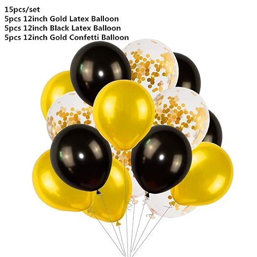LIUUWO Balloon Globos de Pancarta de Feliz cumpleaños de Oro ...