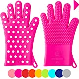 Finally! Heavy-Duty Women's Silicone Oven Mitts by Love This Kitchen | 2 Sizes Available in 9 Colors | Heat Resistant Gloves For Her Cooking, Baking & Barbecue Needs (1 Pair, M/L, Fuchsia)