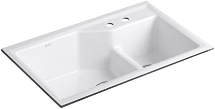 Kohler K 6411 2 0 Indio Undercounter Double Offset Basin Kitchen Sink With
