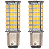 GRV Ba15d 1076 1142 High Bright Car LED Bulb 102-2835SMD DC12V Warm White Pack of 2